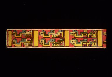 Nazca-Wari. <em>Mantle, Border, Fragment or Textile Fragment?, Undetermined</em>, 200-1000 C.E. Cotton, camelid fiber, 9 1/16 x 151 9/16 in. (23 x 385 cm). Brooklyn Museum, Gift of Harry Kahn, 1992.25. Creative Commons-BY (Photo: Brooklyn Museum, 1992.25_left.jpg)