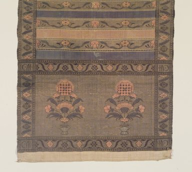 <em>Sash or Belt</em>, 18th century. Silk, gold brocade, 125 x 14 1/2 in. Brooklyn Museum, Gift of Dr. Charles S. Grippi, 1992.263. Creative Commons-BY (Photo: Brooklyn Museum, 1992.263_transp4500.jpg)
