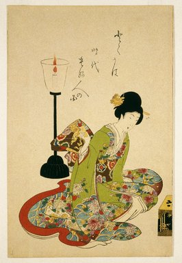 Toyohara Chikanobu (Japanese, 1838-1912). <em>Picture of Women of the Period Doing Things</em>, late 19th-20th century. Color woodblock print on paper, 14 1/4 x 9 3/8 in. (36.2 x 23.8 cm). Brooklyn Museum, Gift of Mr. and Mrs. Peter P. Pessutti, 1992.264.2 (Photo: Brooklyn Museum, 1992.264.2_print_IMLS_SL2.jpg)