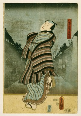Utagawa Kunisada (Toyokuni III) (Japanese, 1786-1865). <em>Actor Nakamura Utaemon IV as Yaoya Hanbei</em>, 2nd month, 1852. Color woodblock print on paper, 14 x 9 1/2 in. (35.6 x 24.1 cm). Brooklyn Museum, Gift of Mr. and Mrs. Peter P. Pessutti, 1992.264.3 (Photo: Brooklyn Museum, 1992.264.3_print_IMLS_SL2.jpg)
