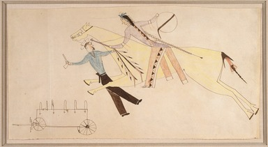 Possibly Cheyenne. <em>Ledger Book Drawing</em>, ca. 1890. Ink, crayon, paper, 6 7/8 x 13 3/8in. (17.5 x 34cm). Brooklyn Museum, Gift of The Roebling Society, 1992.27.1 (Photo: Brooklyn Museum, 1992.27.1_SL1.jpg)