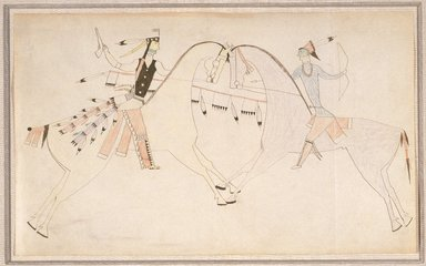 Possibly Cheyenne. <em>Ledger Book Drawing</em>, ca. 1890. Ink, crayon, paper, 8 1/2 x 14 in. (21.6 x 35.6 cm). Brooklyn Museum, Gift of Mr. and Mrs. Alastair B. Martin, the Guennol Collection, 1992.27.4 (Photo: Brooklyn Museum, 1992.27.4_SL1.jpg)