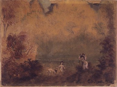 Louis Michel Eilshemius (American, 1864-1942). <em>Bathers</em>, ca. 1920. Oil on paper,  mounted on paperboard, 9 x 12 in. (22.8 x 30.5 cm). Brooklyn Museum, Bequest of Ivor Green and Augusta Green, 1992.271.18 (Photo: Brooklyn Museum, 1992.271.18_transp3738.jpg)