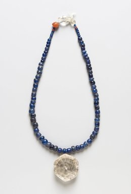 <em>String of Beads</em>, Beads 5th century; pendant 3rd century. Glass and rock crystal, Smallest bead: 3/8 x 5/16 x 1/8 in. (0.9 x 0.8 x 0.3 cm). Brooklyn Museum, Gift of Beatrice Rothbard, 1992.29.1. Creative Commons-BY (Photo: , 1992.29.1_PS11.jpg)