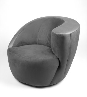 Vladimir Kagan (American, born Germany, 1927-2016). <em>Arm Swivel Lounge Chair, Model 3741C</em>, ca. 1991. Ultrasuede, leather, wood, 29 x 36 1/4 x 32 1/2 in. (73.7 x 92.1 x 82.6 cm). Brooklyn Museum, Gift of Directional, Inc.