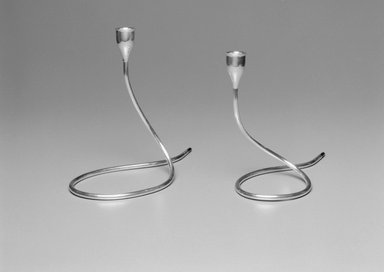 Marion Anderson Noyes (American, 1907-2002). <em>Candlestick</em>, ca. 1955. Silver, 8 5/8 x 10 3/8 x 4 7/8 in. (21.9 x 26.4 x 12.4 cm). Brooklyn Museum, Gift of Marion Anderson Noyes, 1992.40.33. Creative Commons-BY (Photo: , 1992.40.32_1992.40.33a_bw.jpg)