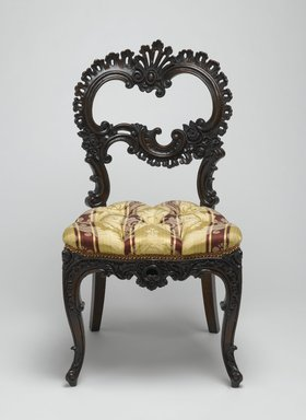 Attributed to Bembe & Kimble. <em>Side Chair</em>, ca. 1855. Rosewood, modern upholstery, 35 15/16 x 19 1/8 x 21 7/8 in.  (91.3 x 48.6 x 55.6 cm). Brooklyn Museum, Alfred T. and Caroline S. Zoebisch Fund, 1992.42. Creative Commons-BY (Photo: Brooklyn Museum, 1992.42_front_PS2.jpg)