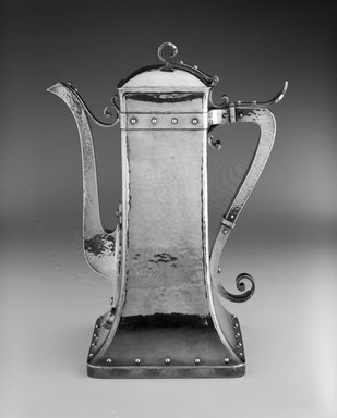 Dominick & Haff (1872-1928). <em>Coffeepot</em>, ca. 1881. Silver and Ivory, 10 1/8 x 8 x 4 7/8 in. (25.7 x 20.3 x 12.4 cm). Brooklyn Museum, Marie Bernice Bitzer Fund, 1992.44. Creative Commons-BY (Photo: Brooklyn Museum, 1992.44_bw.jpg)
