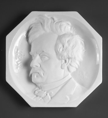 Karl L. H. Mueller (American, born Germany, 1820-1887). <em>Plaque, Portrait of Edwin Forrest</em>, ca. 1875. Porcelain, 5 13/16 x 5 13/16 x 1 in.  (14.8 x 14.8 x 2.5 cm). Brooklyn Museum, H. Randolph Lever Fund, 1992.45. Creative Commons-BY (Photo: Brooklyn Museum, 1992.45_bw.jpg)