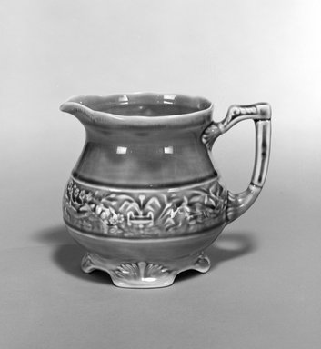 Unknown. <em>Pitcher</em>, early 20th century. Glazed earthenware, 5 x 6 1/2 x 5 in. (12.7 x 16.5 x 12.7 cm). Brooklyn Museum, Gift of Robert J. Mehlman, 1992.4. Creative Commons-BY (Photo: Brooklyn Museum, 1992.4_bw.jpg)