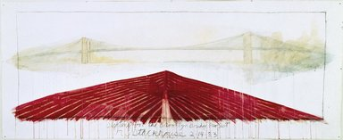 Robert Stackhouse (American, born 1942). <em>Sighting for the Brooklyn Bridge Project</em>, February 14, 1983. Watercolor, acrylic, black chalk, and graphite, 59 x 145 in. (149.9 x 368.3 cm). Brooklyn Museum, Gift of Theodore and Charlotte Tieken, 1992.59. © artist or artist's estate (Photo: Brooklyn Museum, 1992.59_SL1.jpg)