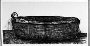 Deborah Masters (American, born 1951). <em>Thank You for My Adolescence</em>. Charcoal on paper, 67 1/4 x 127 1/2 in. (170.8 x 323.9 cm). Brooklyn Museum, Purchased with funds given by Werner H. and Sarah-Ann Kramarsky, 1992.64. © artist or artist's estate (Photo: Brooklyn Museum, 1992.64_bw.jpg)