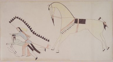 Possibly Cheyenne. <em>Ledger Book Drawing</em>, ca. 1890. Ink, crayon, woven paper, 7 1/4 x 14 in. (18.4 x 35.6 cm). Brooklyn Museum, A. Augustus Healy Fund, 1992.76.1 (Photo: Brooklyn Museum, 1992.76.1_transp3554.jpg)