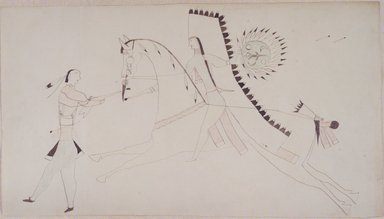 Possibly Cheyenne. <em>Ledger Book Drawing</em>, ca. 1890. Ink, crayon, woven paper, 7 3/4 x 14 in. (19.7 x 35.6 cm). Brooklyn Museum, A. Augustus Healy Fund, 1992.76.2 (Photo: Brooklyn Museum, 1992.76.2_transp3553.jpg)