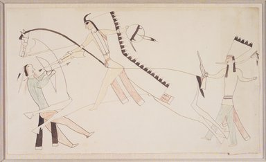 Possibly Cheyenne. <em>Ledger Book Drawing</em>, ca. 1890. Pen, brown ink and wax crayon on wove paper , 7 1/4 x 12 1/2 in. (18.4 x 31.8 cm). Brooklyn Museum, A. Augustus Healy Fund, 1992.76.3 (Photo: Brooklyn Museum, 1992.76.3_transp3552.jpg)