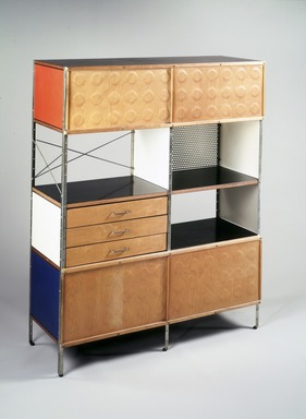 Charles Eames (American, 1907-1978). <em>Storage Unit</em>, 1948-1954. Birch plywood, masonite, black plastic laminate veneer, chrome-plated steel, white metal, rubber, Overall:  58 1/2 x 46 7/8 x 16 7/8 in. (148.6 x 119.0 x 42.9 cm). Brooklyn Museum, Marie Bernice Bitzer Fund, 1992.7. Creative Commons-BY (Photo: Brooklyn Museum, 1992.7_transp504.jpg)