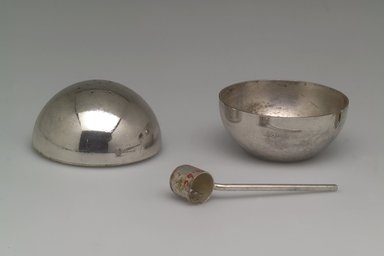 Napier (1922-present). <em>Salt and Pepper Server</em>, ca. 1935. Silver-plated brass, (a & b) Bowl & Shaker fitted together: 1 7/8 x 2 x 2 in. (4.8 x 5.1 x 5.1 cm). Brooklyn Museum, Gift of Mark Isaacson, 1992.92.6a-c. Creative Commons-BY (Photo: Brooklyn Museum, 1992.92.6a-c_open.jpg)