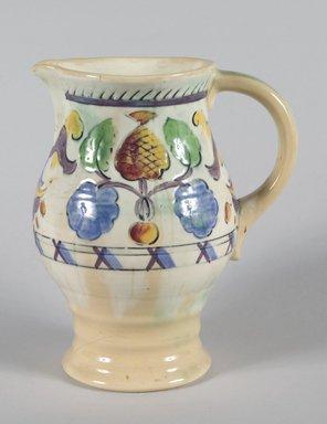 Frank Brangwyn (British, 1867-1956). <em>Pitcher</em>, ca. 1930. Glazed earthenware, 8 5/8 x 7 x 5 in.  (21.9 x 17.8 x 12.7 cm). Brooklyn Museum, Gift of Catherine Kurland, 1992.94. Creative Commons-BY (Photo: Brooklyn Museum, 1992.94_PS5.jpg)