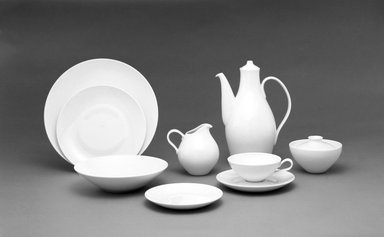 "Eva Zeisel (American, born Hungary, 1906-2011). <em>Creamer, ""Museum"" Pattern</em>, ca. 1942-1943. Porcelain, 4 3/4 x 4 1/4 x 4 1/2 in.  (12.1 x 10.8 x 11.4 cm). Brooklyn Museum, Gift of Paul F. Walter