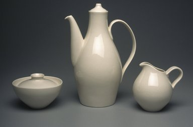 "Eva Zeisel (American, born Hungary, 1906-2011). <em>Coffeepot with Lid, ""Museum"" Pattern</em>, ca. 1942-1943. Porcelain, 10 x 7 x 4 1/2 in.  (25.4 x 17.8 x 11.4 cm). Brooklyn Museum, Gift of Paul F. Walter