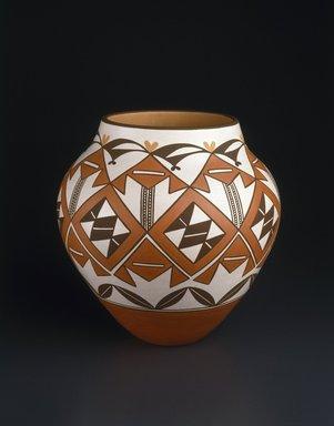 Gladys Paquin (Ka'waika (Laguna Pueblo), born 1936). <em>Jar</em>, 1993. Clay, slip, 11 1/2 x 6 1/2 in. (29.2 x 16.5 cm). Brooklyn Museum, Carll H. de Silver Fund, 1993.101.1. Creative Commons-BY (Photo: Brooklyn Museum, 1993.101.1_SL1.jpg)