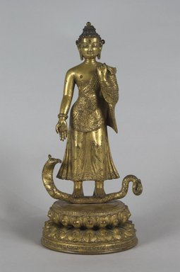Nepalese. <em>Buddha Dipankara on a Serpent</em>, 1660. Gilt bronze, Height: 10 5/8 in. (27 cm). Brooklyn Museum, Gift of Joseph H. Hazen, 1993.104.6. Creative Commons-BY (Photo: Brooklyn Museum, 1993.104.6_PS5.jpg)
