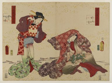 Utagawa Kunisada (Toyokuni III) (Japanese, 1786-1865). <em>Chapter 13, Aoi, from the series Lingering Sentiments of a Late Collection of Genji</em>, 1858, second month. Woodblock print with embossing, 14 1/8 x 19 3/8 in. (35.9 x 49.2 cm). Brooklyn Museum, Gift of Dr. Bertram H. Schaffner, 1993.106.4 (Photo: Brooklyn Museum, 1993.106.4_IMLS_PS4.jpg)