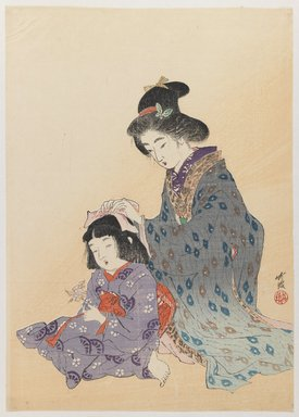 Odake Chikuha (1878-1936). <em>Woman Fixing Girl's Hair</em>, 1900. Woodblock print, 12 1/8 x 8 5/8 in. (30.8 x 21.9 cm). Brooklyn Museum, Gift of Dr. Bertram H. Schaffner, 1993.106.5 (Photo: Brooklyn Museum, 1993.106.5_IMLS_PS3.jpg)