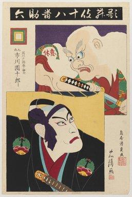 Torii Kiyotada VII (Japanese, 1875-1941). <em>Ichikawa Danjuro IX as Hanakawado Agemakino Sukeroku and Ikyu</em>, 1895. Woodblock print with embossing, 14 x 9 1/4 in. (35.6 x 23.5 cm). Brooklyn Museum, Gift of Dr. Bertram H. Schaffner, 1993.106.6 (Photo: Brooklyn Museum, 1993.106.6_IMLS_PS3.jpg)