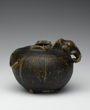 <em>Elephant-headed Jar</em>, 11th-12th century. Earthenware with brown glaze, Height: 4 3/4 in. (12.1 cm). Brooklyn Museum, Gift of Dr. Bertram H. Schaffner, 1993.106.9. Creative Commons-BY (Photo: Brooklyn Museum, 1993.106.9_view1_PS2.jpg)