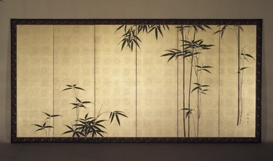 Oda Kaisen (Japanese, 1785-1862). <em>Young Bamboo</em>, ca. 1850. One of a pair of six-fold screens, colors on gold leaf applied to paper, Each of 6 panels: 17 7/8 x 53 3/4 in. (45.4 x 136.5 cm). Brooklyn Museum, Gift of the Estate of Charles A. Brandon, by exchange, 1993.107.1. Creative Commons-BY (Photo: Brooklyn Museum, 1993.107.1.jpg)