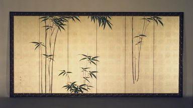 Oda Kaisen (Japanese, 1785-1862). <em>Young Bamboo</em>, ca. 1850. One of a pair of six-fold screens, colors on gold leaf applied to paper, Each of 6 panels: 17 7/8 x 53 3/4 in. (45.4 x 136.5 cm). Brooklyn Museum, Gift of the Estate of Charles A. Brandon, by exchange, 1993.107.2. Creative Commons-BY (Photo: Brooklyn Museum, 1993.107.2.jpg)