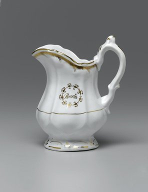 <em>Creamer from a Twelve Piece Tea Service</em>, Patented 1853. Porcelain, 6 x 4 3/4 x 3 in. (15.2 x 12.0 x 7.6 cm). Brooklyn Museum, Gift of the Family of Paul E. Burtis, 1993.109.10. Creative Commons-BY (Photo: Brooklyn Museum, 1993.109.10_PS1.jpg)
