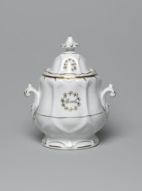 <em>Sugar Bowl with Lid from a Twelve Piece Tea Service</em>, Patented 1853. Porcelain, bowl: 5 1/4 x 6 x 4 in. (13.3 x 15.2 x 10.2 cm). Brooklyn Museum, Gift of the Family of Paul E. Burtis, 1993.109.11a-b. Creative Commons-BY (Photo: Brooklyn Museum, 1993.109.11a-b_PS2.jpg)
