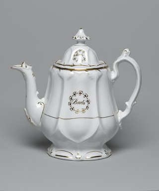 <em>Teapot with Lid from a Twelve Piece Tea Service</em>, Patented 1853. Porcelain, teapot: 7 1/2 x 9 1/4 x 4 1/4 in. (19.0 x 23.5 x 10.8 cm). Brooklyn Museum, Gift of the Family of Paul E. Burtis, 1993.109.12a-b. Creative Commons-BY (Photo: Brooklyn Museum, 1993.109.12a-b_PS2.jpg)