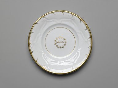 <em>Plate from a Twelve Piece Tea Service</em>, Patented 1853. Porcelain, 1 x 7 3/4 x 7 3/4 in. (2.5 x 19.2 x 19.2 cm). Brooklyn Museum, Gift of the Family of Paul E. Burtis, 1993.109.1. Creative Commons-BY (Photo: Brooklyn Museum, 1993.109.1_PS2.jpg)
