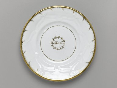<em>Plate from a Twelve Piece Tea Service</em>, Patented 1853. Porcelain, 1 x 7 3/4 x 7 3/4 in. (2.5 x 19.2 x 19.2 cm). Brooklyn Museum, Gift of the Family of Paul E. Burtis, 1993.109.2. Creative Commons-BY (Photo: Brooklyn Museum, 1993.109.2_PS1.jpg)