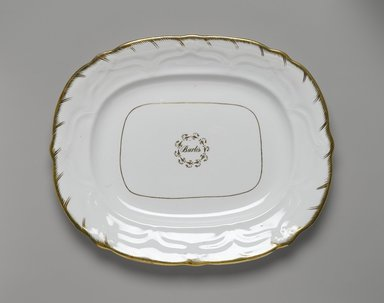 <em>Platter from a Twelve Piece Tea Service</em>, Patented 1853. Porcelain, 1 x 12 1/2 x 10 1/4 in. (2.5 x 31.8 x 26.0 cm). Brooklyn Museum, Gift of the Family of Paul E. Burtis, 1993.109.3. Creative Commons-BY (Photo: Brooklyn Museum, 1993.109.3_PS2.jpg)