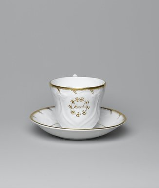 <em>Cup and Saucer from a Twelve Piece Tea Service</em>, Patented 1853. Porcelain, cup: 2 3/4 x 3 3/4 x 3 1/4 in. (7.0 x 9.5 x 8.2 cm). Brooklyn Museum, Gift of the Family of Paul E. Burtis, 1993.109.4a-b. Creative Commons-BY (Photo: Brooklyn Museum, 1993.109.4a-b_view1_PS2.jpg)