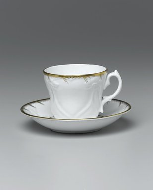 <em>Cup and Saucer from a Twelve Piece Tea Service</em>, Patented 1853. Porcelain, cup: 2 3/4 x 3 3/4 x 3 1/4 in. (7.0 x 9.5 x 8.2 cm). Brooklyn Museum, Gift of the Family of Paul E. Burtis, 1993.109.5a-b. Creative Commons-BY (Photo: Brooklyn Museum, 1993.109.5a-b_view1_PS1.jpg)
