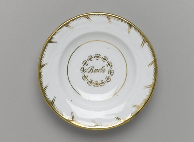 <em>Plate from a Twelve Piece Tea Service</em>, Patented 1853. Porcelain, 1 x 5 1/2 x 5 1/2 in. (2.5 x 14.0 x 14.0 cm). Brooklyn Museum, Gift of the Family of Paul E. Burtis, 1993.109.6. Creative Commons-BY (Photo: Brooklyn Museum, 1993.109.6_PS1.jpg)