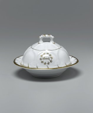 <em>Butter Dish with Lid and Drainer from a Twelve Piece Tea Service</em>, Patented 1853. Porcelain, dish: 1 1/2 x 7 1/4 x 7 1/4 in. (3.8 x 18.4 x 18.4 cm). Brooklyn Museum, Gift of the Family of Paul E. Burtis, 1993.109.8a-c. Creative Commons-BY (Photo: Brooklyn Museum, 1993.109.8a-c_PS1.jpg)