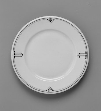 Shenango China (China, 1910-present). <em>Plate</em>, ca. 1910. Porcelain, 3/4 x 7 1/4 x 7 1/4 in. (1.9 x 18.4 x 18.4 cm). Brooklyn Museum, Gift of Joseph V. Garry, 1993.111. Creative Commons-BY (Photo: Brooklyn Museum, 1993.111_view1_bw.jpg)