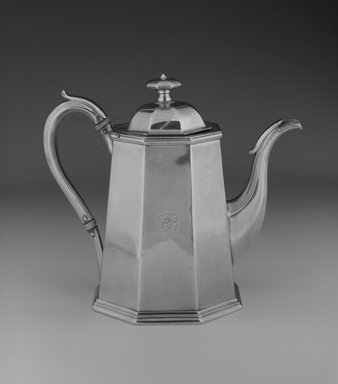John Chandler Moore (active 1832-1844). <em>Coffee Pot</em>, ca. 1835. Silver and Ivory, 7 x 8 x 4 1/2 in. (17.8 x 20.3 x 11.4 cm). Brooklyn Museum, Gift of Wunsch Americana Foundation, Inc. in honor of Dianne H. Pilgrim, 1993.114.5. Creative Commons-BY (Photo: Brooklyn Museum, 1993.114.5_bw.jpg)