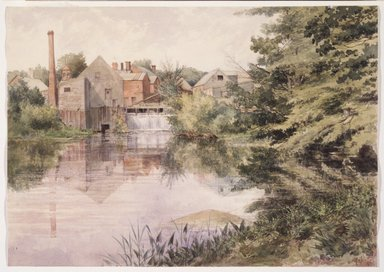 George  J. Tribe (American, active late 19th-20th century). <em>Old Felt Mill on the Negunticook River, Camden, Maine</em>, 1895. Watercolor over graphite on cream, moderately thick, moderately textured wove paper, 9 3/4 x 13 13/16 in. (24.8 x 35.1 cm). Brooklyn Museum, Purchased in memory of former Museum staff member Jane Carpenter Poliquin (1955-1992), with funds given by her friends and colleagues, 1993.121 (Photo: Brooklyn Museum, 1993.121_transp513.jpg)