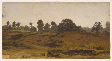 Auguste-François Bonheur (French, 1824-1884). <em>View of a Field</em>, early 1850s. Oil on paper, 6 5/8 x 12 5/16 in. (16.8 x 31.3 cm). Brooklyn Museum, Healy Purchase Fund B, 1993.123.2 (Photo: Brooklyn Museum, 1993.123.2_SL1.jpg)