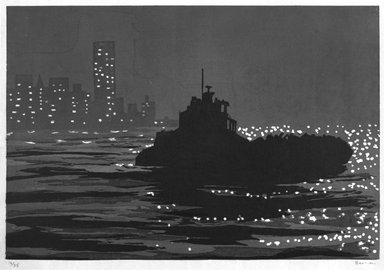 Richard Bosman (American, born India, 1944). <em>Night Haul</em>, ca. 1991. Woodcut on paper, Sheet: 24 3/4 x 33 3/4 in. (62.8 x 85.7 cm). Brooklyn Museum, Robert A. Levinson Fund, 1993.135.3. © artist or artist's estate (Photo: Brooklyn Museum, 1993.135.3_bw.jpg)