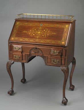R. J. Horner. <em>Desk</em>, 1890-1895. Various woods, various metals, mother-of-pearl inlay, brass hardware, 42 3/4 x 32 x 19 3/4 in. (108.6 x 81.25 x 50.15 cm). Brooklyn Museum, Alfred T. and Caroline S. Zoebisch Fund, 1993.156. Creative Commons-BY (Photo: Brooklyn Museum, 1993.156_PS2.jpg)