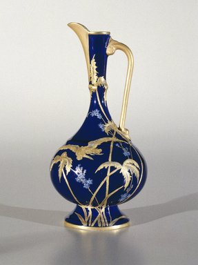 Greenwood Art Pottery Company (1868-1933). <em>Ewer</em>, ca. 1883-1886. Porcelain, 9 3/4 x 4 3/4 x 4 3/4 in.  (24.8 x 12.1 x 12.1 cm). Brooklyn Museum, H. Randolph Lever Fund, 1993.157. Creative Commons-BY (Photo: Brooklyn Museum, 1993.157_SL1.jpg)