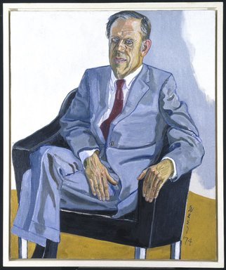 Alice Neel (American, 1900-1984). <em>John I. H. Baur</em>, 1974. Oil on canvas, 45 1/2 x 38in. (115.6 x 96.5cm). Brooklyn Museum, Gift of Hartley and Richard Neel, 1993.161. © artist or artist's estate (Photo: Brooklyn Museum, 1993.161_SL1.jpg)